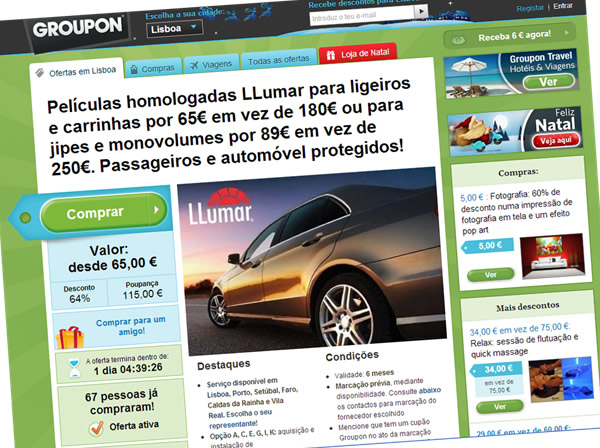 Películas homologadas LLumar para ligeiros e carrinhas por 65€ em vez de 180€